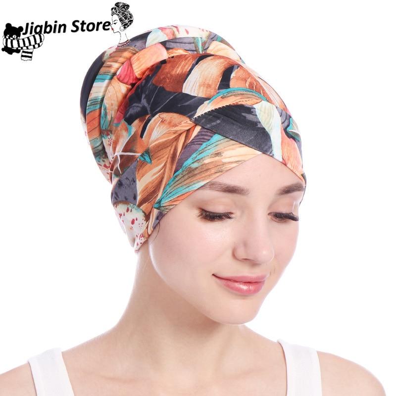 Print Soft Sponge Tail Women Muslimf Hijab Hats Underscarf Turban Cap Wrapped Head Muslim Hijab Scarf Hat Headwrap Scarf