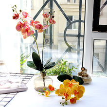 Large 2 Stems PU Butterfly Orchid Phalaenopsis with Leaves Artificial Flowers Home Decor Hotels Ornaments Photography