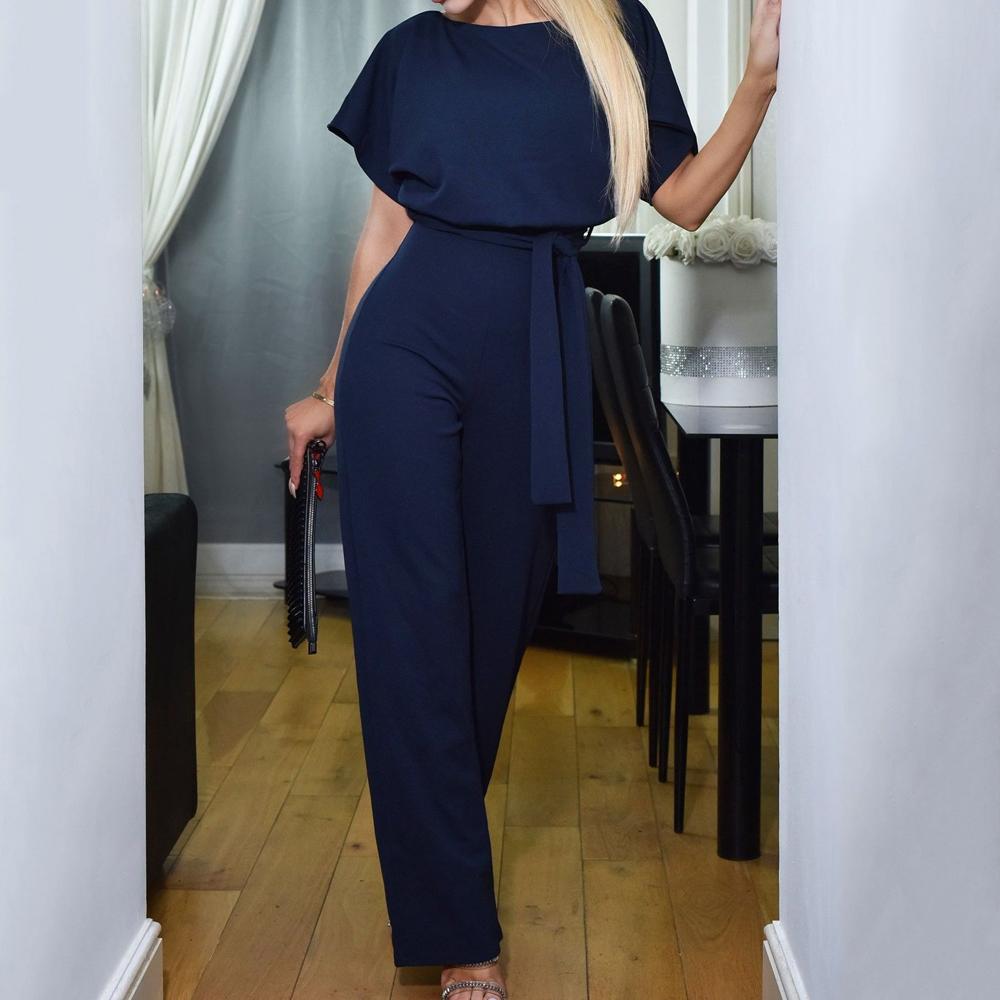 Office Ladies Elegant Jumpsuit Plus Size Loose Short Sleeve Wide Leg Long Casual Streetwear Women's Overalls High Waist Tunic