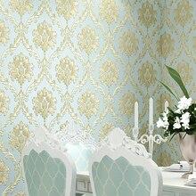 אירופאי סגנון PVC עמיד למים טפט יוקרה דמשק 3D סטריאוסקופית הקלה דמשק חדר שינה סלון קיר נייר עיצוב בית