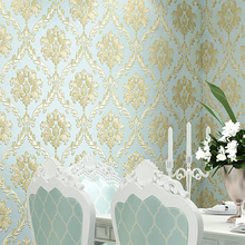 Papel de parede estilo europeu, papel de parede à prova d água 3d damask, estereoscópico, alívio de damasco, quarto, sala de estar, decoração de casa