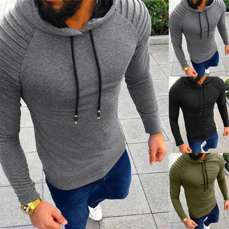 Autumn Hoodies Sweatshirt Men Pleated Long Sleeve Hip Hop Men Hooded Jacket Fashion Hoodie Male Army Green Black Sports Pullover