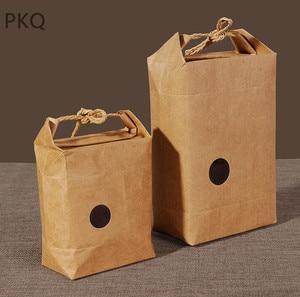 Image 4 - 20pcs Kraftpapier Verpakking Met Handvat Thee Voedsel Pakket Papier Doos Event Partij Gunst Gift Opbergtas
