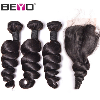 Beyo Loose Wave Bundles With Closure Malaysian Hair Bundles With Closure Human Hair Bundles With Closure Remy Hair Extension
