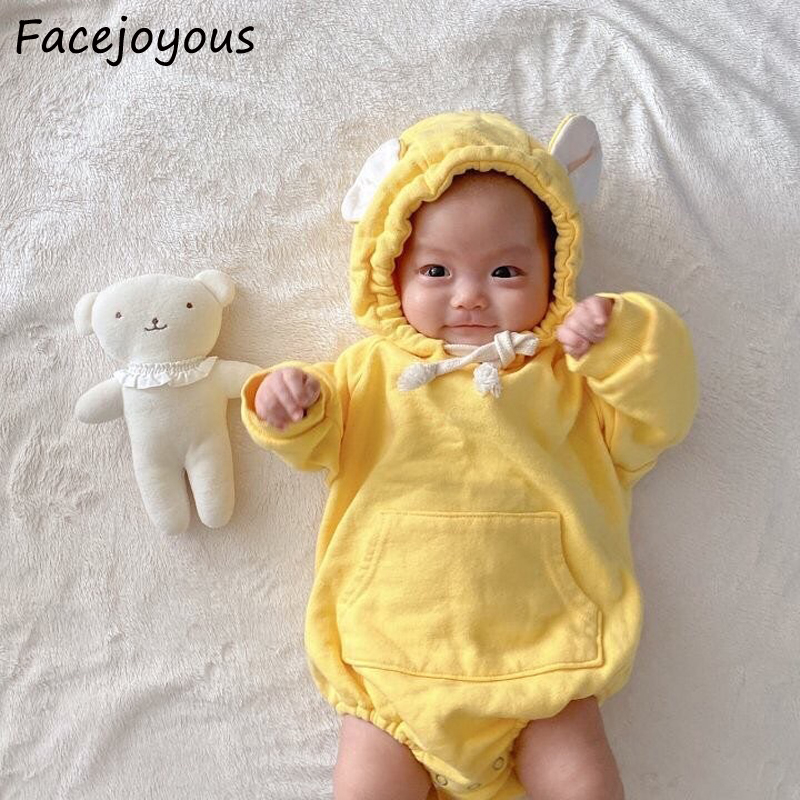 2020Spring New Born Baby Long Sleeve One Piece Candy Color Baby Hooded Bodysuits Bear Ear Infant Kids Toddler Girls Boys Clothes