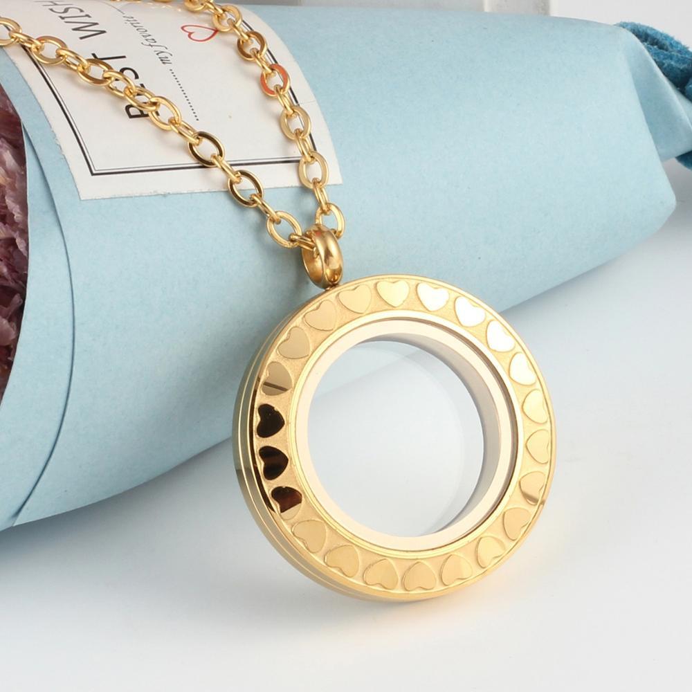 URSJEWELRY плавающая подвеска, медальон 28 мм Твист открытый 316L нержавеющая сталь Стекло Медальоны живой памяти ожерелье - Окраска металла: gold