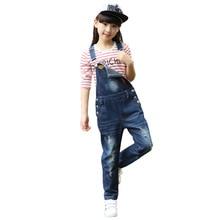 цена на Kids Girls Overalls Jumpsuits 2019 Autumn New Girls Trousers Children Jeans Bib Overalls Baby Girls Denim Suspenders Pants