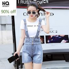 2020 Nieuwe Koreaanse Denim Playsuits Vrouwen Loose Fit Hoge Taille Wijde Pijpen Korte Jumpsuits Dames Casual Single Breasted Jeans Kleding(China)