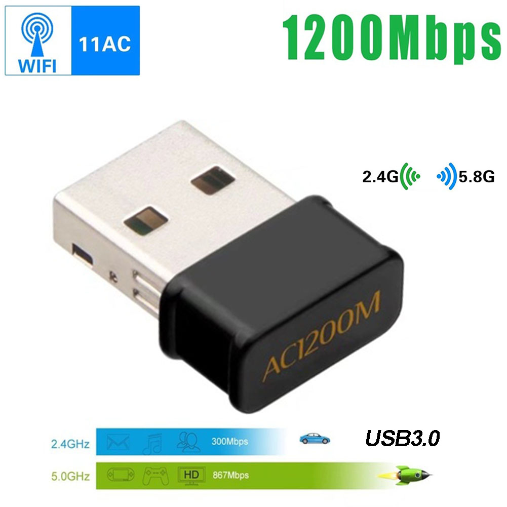 USB 3.0 Dongle Wifi Adapter Dual Band 1200Mbps 802.11AC 2.4Ghz/5Ghz USB Wireless/WiFi AC Adapter AC1200M Wireless network card image