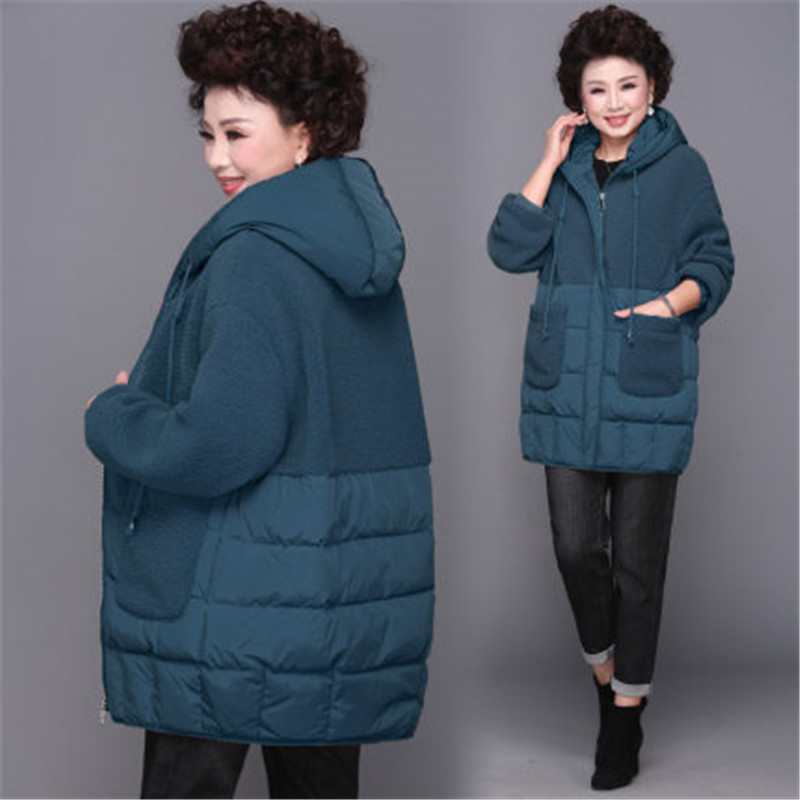 2020 Middle-aged old Hooded Down Cotton Clothes Women's Autumn Winter Coats Long Parkas Large Size 4XL Warm Cotton Jacket XA287