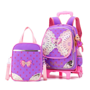 Removable travel Children School Bags with 2/6 Wheels for Girls 2pcs/set Trolley Backpack Kids travel Wheeled Bag Bookbag
