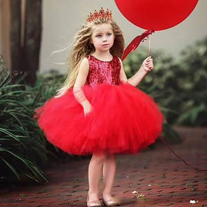 2020 Pageant Baby Girl Princess Dress Kids Tutu Tulle Backless Party Costume Red Ball Gown Girls Formal Dresses High Quality(China)