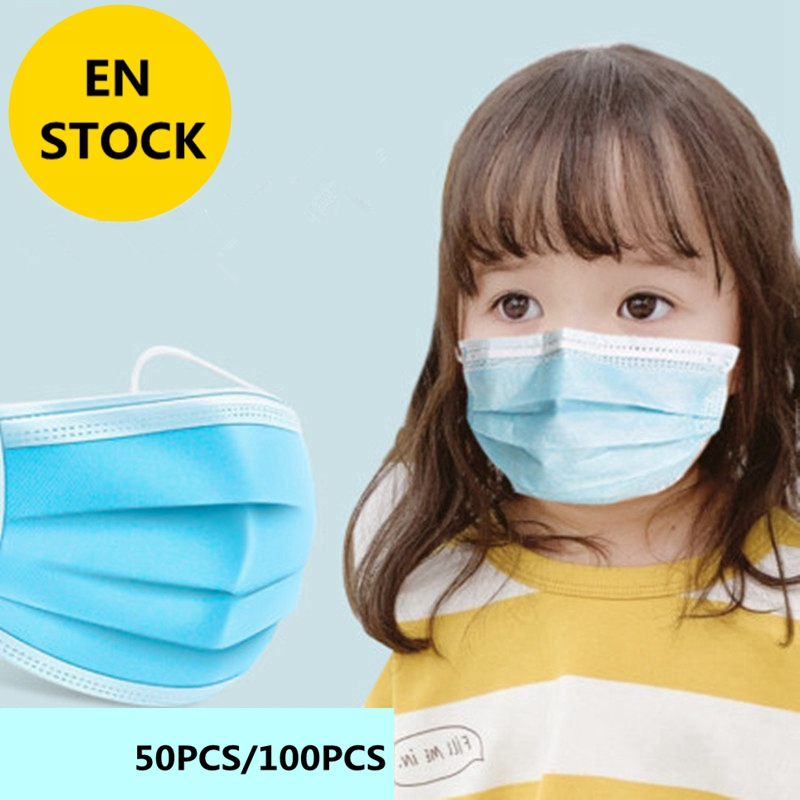50 / 100PCS Health Care Tool Children's Mask Dust-proof And Anti-virus Disposable Three-layer Hanging Ear Mask