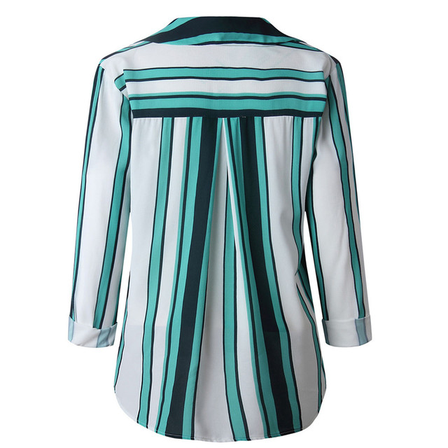 Fashion Striped Print Women Blouse Shirt Button Long Sleeve Top Spring Summer Ladies Casual Blouse Shirts Tops Plus Size S-5XL 6