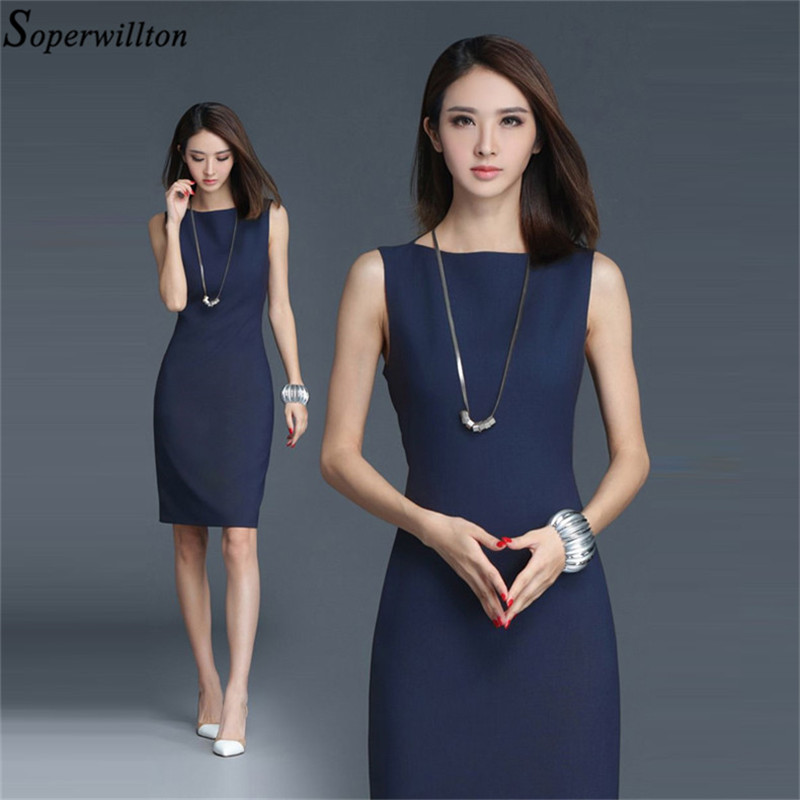 2019 New Summer Office Dress Women Elegant O-neck Sleeveless Knee Length Black Grey Wear to Work Sheath Ladies Dresses #BD725 2