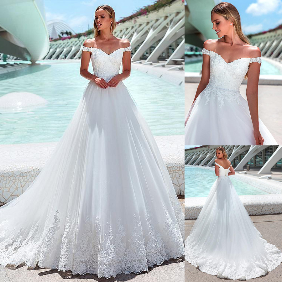 Marvelous Tulle Off-the-shoulder Neckline A-line Wedding Dresses Beading Sash With Lace Applique Bridal Gowns