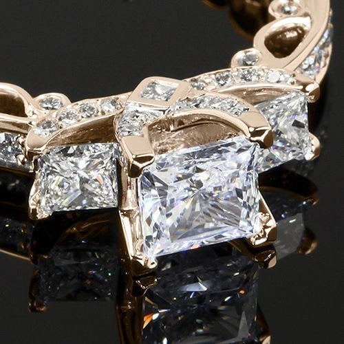 14K Gold Princess Diamond 2 Carat Ring for Women Wedding Bizuteria Anillos Gemstone 14K White Topaz Square Diamond Ring Jewelry