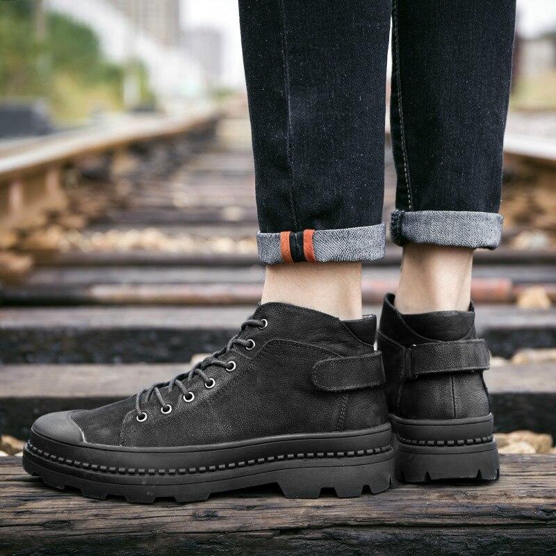 Из полиуретана с открытыми порами ботильоны; ботинки в байкерском стиле в стиле панк из натуральной кожи; обувь с высоким берцем и на высоко... - 2