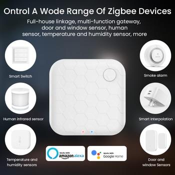 Hub inteligente Tuya Zigbee con Wifi, Control remoto por voz para casa, puente de Control inteligente, Centor, funciona con la aplicación para hogares Alexa y Google 2