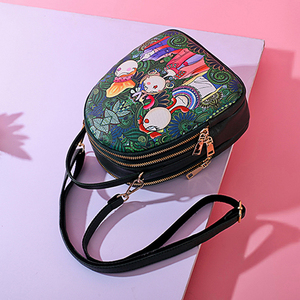 Image 5 - Fashion Cartoon Printing Women Handbag High Quality PU Leather Shoulder Bag Ladies 3 Deck Cartoon Pattern Back Pack For Teenager
