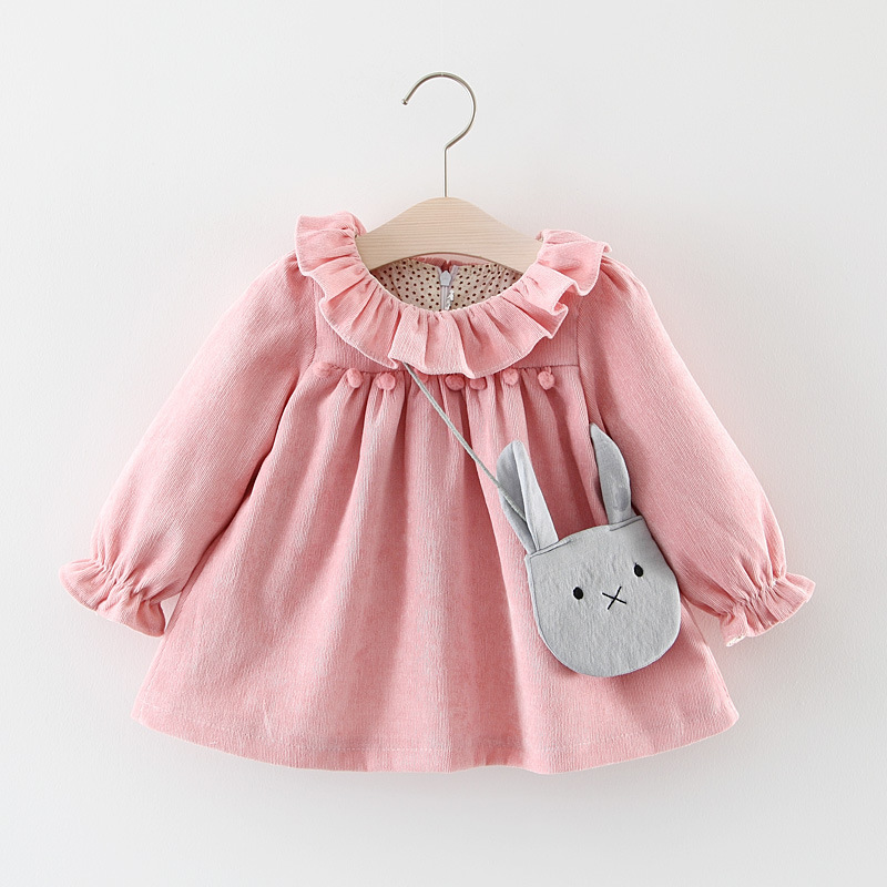 Baby Clothes Fur Ball Cute Baby Clothing Spring Wear Gold Velvet Baby Girls Princess Dress Velvet Long-sleeve Dress Party Dresse