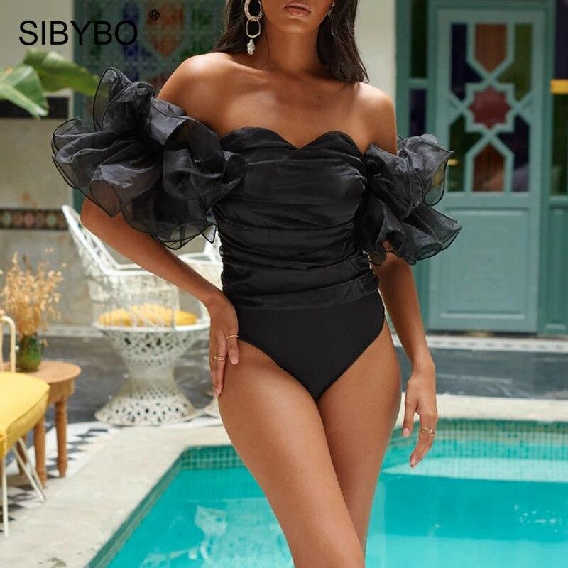 SIBYBO Ruffles Sleeve Off Shoulder Sexy Bodysuit Women Strapless Skinny Black Women Rompers Backless Beachwear Bodysuit Tops