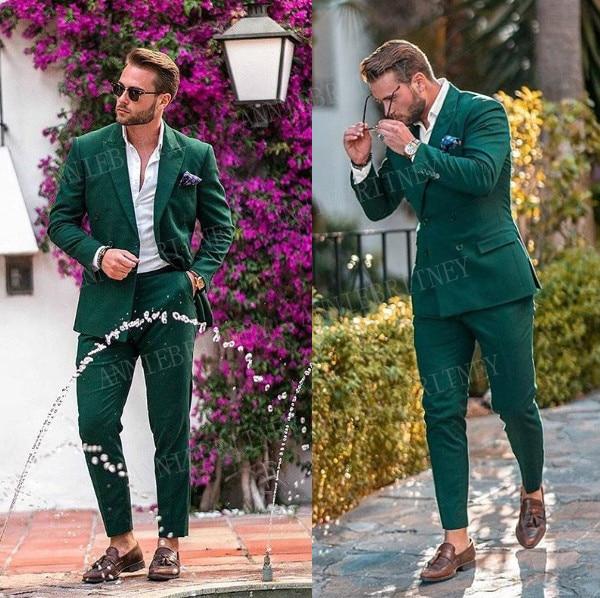 ANNIEBRITNEY Casual Green Men Suit Pants For Business Slim Fit Wedding Man Blazer Groom Tuxedo 2 Piece Custom Plus Size Suit Men