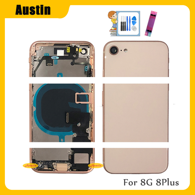 Full Housing for Iphone 8 8G 8Plus Battery Back Cover Door Rear Case Middle Frame Chassis + Back Glass with Flex Cable Parts 8G 4