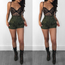 Hot Sale High Quality Fashion Summer Army Green Shorts Stylish Loose Casual Women Sexy A-line Waist Pants  Ladies
