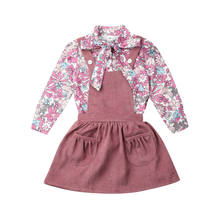 Emmababy Toddler Baby Girls Kid Flower Shirt Strap Dress Autumn Corduroy Clothes Skirt(China)