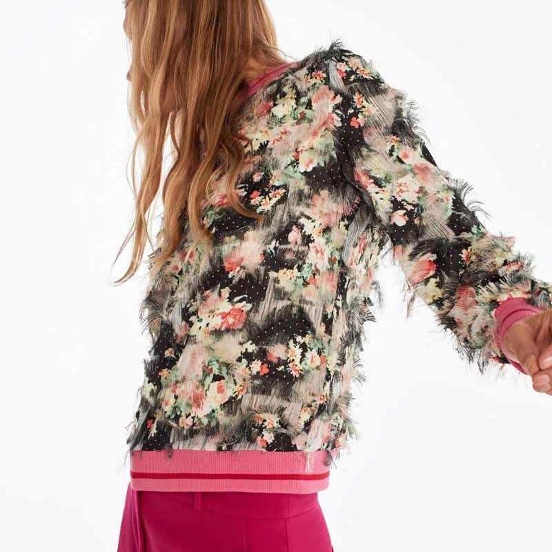 Za 新しい女性トレーナー花プリント花柄ファッション 3D 羽カジュアルシックな女性プルオーバー女性のトラックスーツ