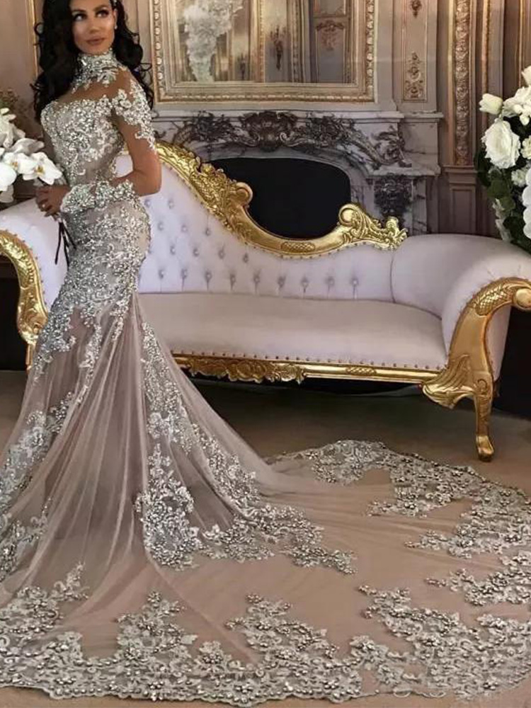 Gowns Bride-Dress Arabic Sparkly Mermaid Long-Sleeves High-Neck Luxury Beaded-Applique
