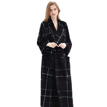 Lovers Winter Long Flannel Warm Plaid Bathrobe Women Men Bath Robe Sexy Dressing Gown