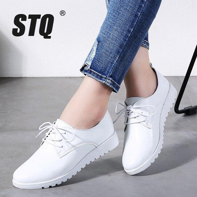 Stq 여성 겨울 캐주얼 스 니 커 즈 신발 여성 웨지 정품 가죽 레이스 신발 플랫 발레 신발 여성 chaussure femme 9935