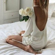 Babesser camisetas longas femininas abertas costas sem costas topos manga longa solto vestido de cordão casual sexy preguiçoso malha camisa