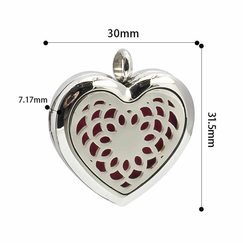 Kształt serca dyfuzor olejków eterycznych ze stali nierdzewnej 316L naszyjnik wisiorek zapach perfumy medalion z S.S naszyjnik łańcuch 10 sztuk klocki