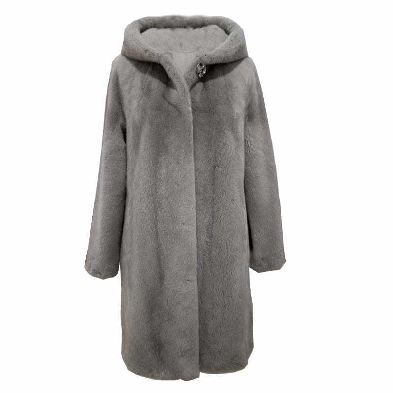 Hiver nouveau vison manteau femmes grande taille M-5XL sur le genou imperméable velours fourrure manteaux femme moyen long épais padgyk fourrure