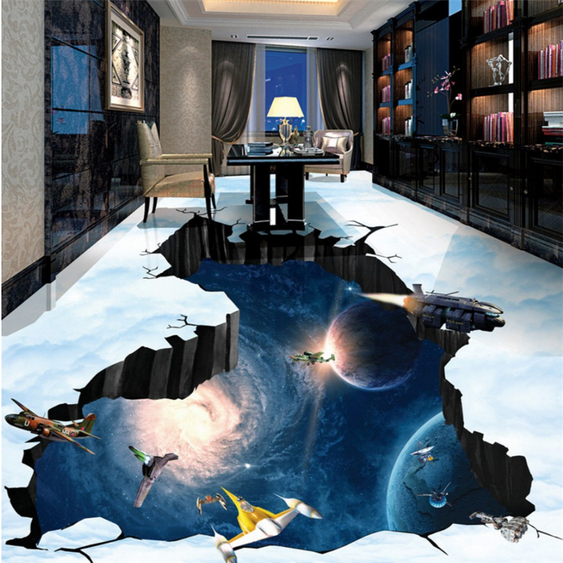 Custom Floor Painting 3d Floor Tile Universe Galaxy Earth 3D Bathroom Living Room Bedroom Hotel Floor Tile Papel De Parede обои