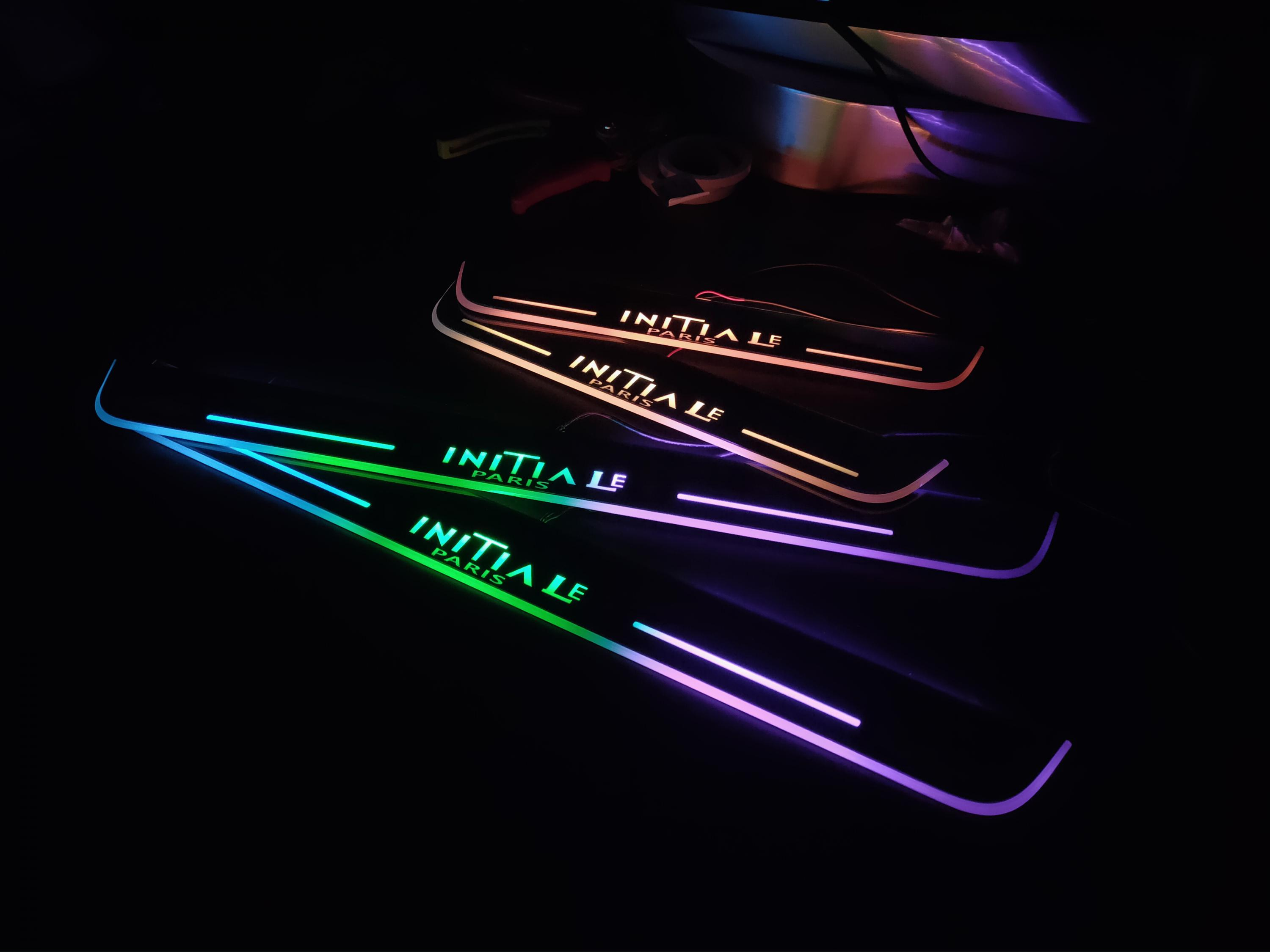 Acrylic Door Sill Plate Strip With Led Decorative Welcome Light Moving Door Scuff For Renault Talisman Initiale Paris