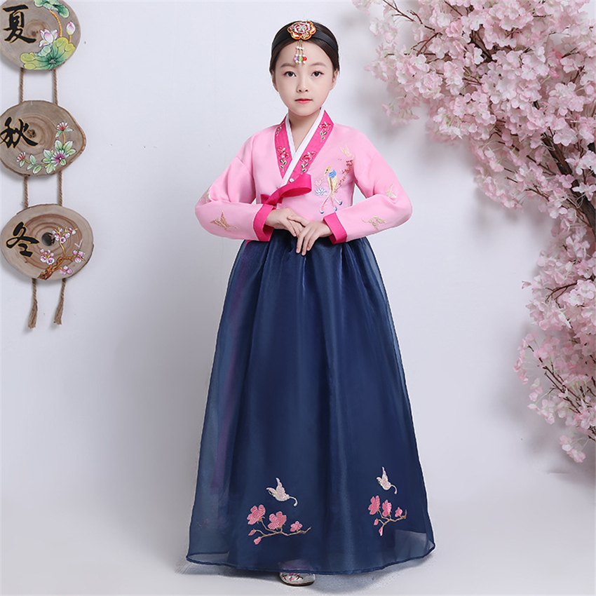 Traditional Korean Clothing Girls Hanbok Embroidery Long Sleeve Ancient Dance Costume Stage Performance Retro Court Dress