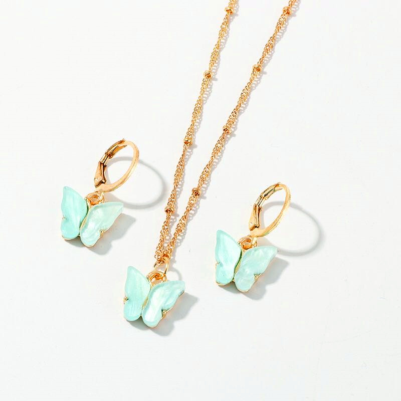 2pcs/set Fashion Acrylic Butterfly Stud Cute Butterfly Pendant Necklace For Women Colorful Girls Jewelry Gifts