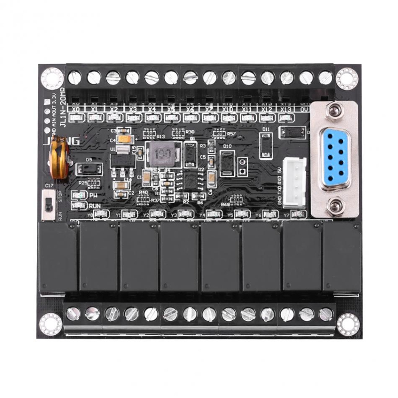 AAAE Top-DC 24V PLC Regulator FX1N-20MR Industrial Control Board Programmable Controller Module