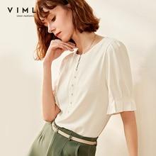 Vimly 2020 Summer Women Vintage Solid Chiffon Blouse OL Style Elegant Oneck Short Sleeve Loose Casual Female Blouse Tops F0832