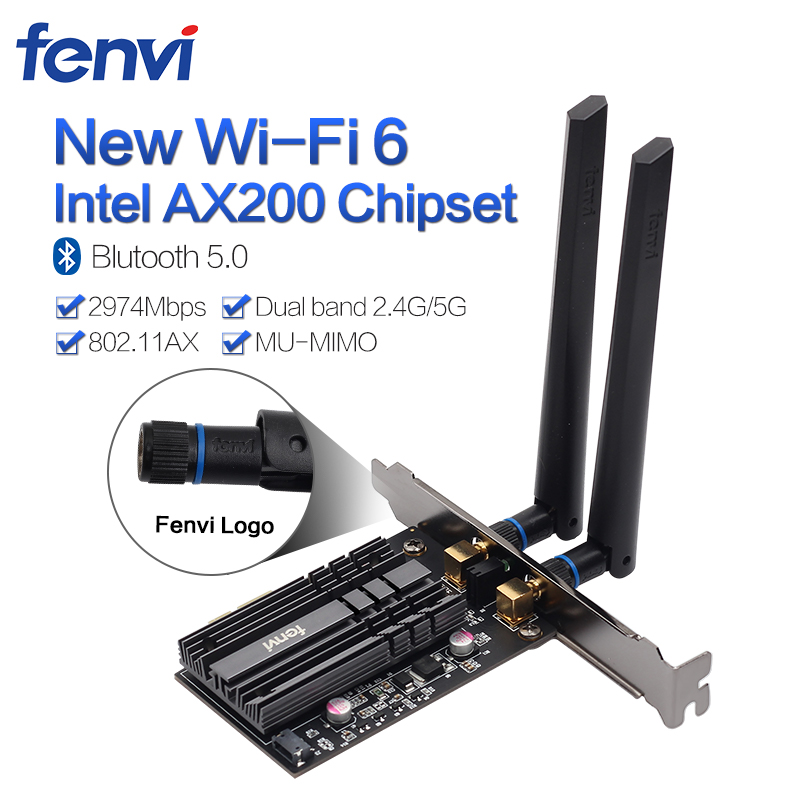 2400Mbps  Wireless Desktop PCI-E Wi-Fi Card Dual Band Adapter For Wi-Fi 6 Intel AX200NGW NGFF 802.11 Ac/ax With BT5.0 For PC