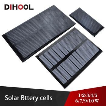 цена на Solar Panel 5v 6v 9v 12v 18v  Photovoltaic Panel Epoxy Solar Cell 1w 2w 3w 5w 6w 7w 9w 10w Battery Charger For Mini Solar System