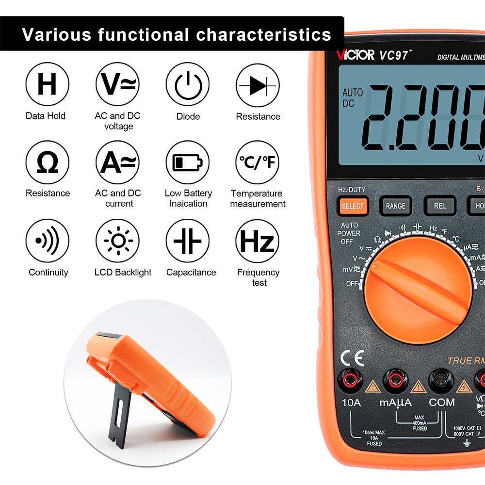 home improvement : RuoShui Multimeter 9808  High Precision Digital 2000uF Capacimeter 10MHz Frequency Temperature and Inductance Measuring with LCR