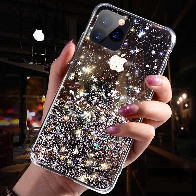 Mewah Bling Glitter untuk iPhone 11 Pro X XS Max XR Lembut Silicon Cover UNTUK iPhone 7 8 6 6S PLUS Transparan Kasus Capa