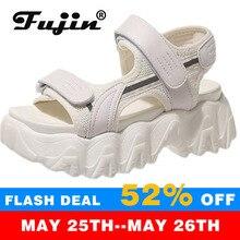 Fujin-Sandalias de gladiador de 6CM para Mujer, zapatos con plataforma, gruesas, tejanas, cómodas, para playa, verano, 2021