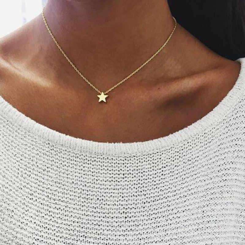 Naszyjnik z małym serduszkiem dla kobiet krótki łańcuszek serce wisiorek w kształcie gwiazdy naszyjnik etniczny naszyjnik choker w stylu boho drop shipping A64