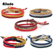 Ailodo Handmade Weave Braided Bracelets For Women Trendy Vintage Cotton Rope Chain Ethnic Charm Bracelets Fashion Jewelry LD328(China)